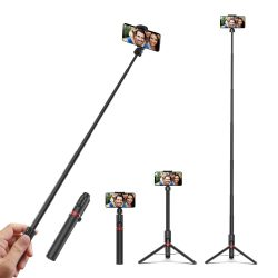 Selfie stick, tripod + zusätzliche Länge - BlitzWolf® BW-BS10 Plus 1300 mm lang, mit ausziehbarem Ständer, verdeckten Beinen und abnehmbarer Fernbedienung