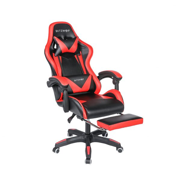 BlitzWolf BW-GC1 - Gaming Stuhl mit verstellbaren Kopfkissen und Lendenkissen, Ergonomischer Schreibtischstuhl, Racing Stuhl Mit hoher Rückenlehne