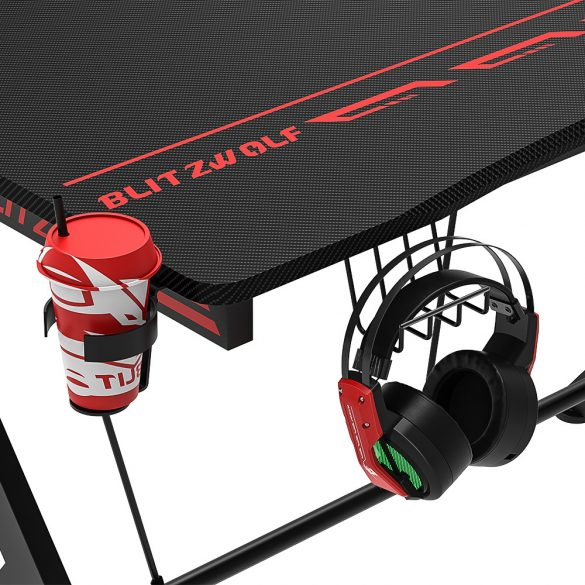 BlitzWolf BW-GD1 - Gaming Schreibtisch Computertisch Desk Gamer Pro, Schwarz