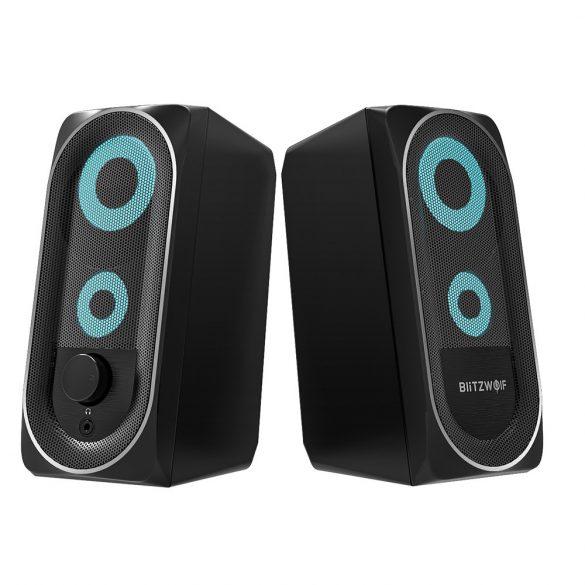 BlitzWolf BW-GT1 - Computerlautsprecher mit RGB-Beleuchtung, Bass Boost, kompakte Größe