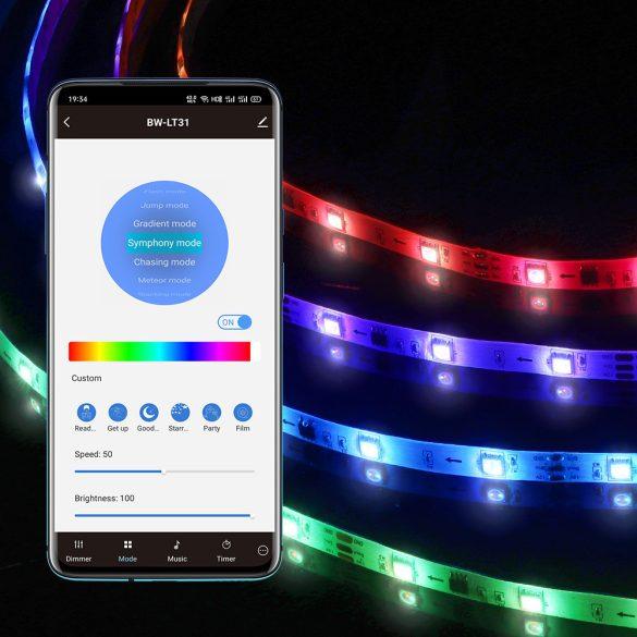 BlitzWolf® BW-LT31 Smart LED-Streifen - 5 m / 10 m lang, App- und IR-Fernbedienung, Musikmodus, verschiedene Lichteffekte