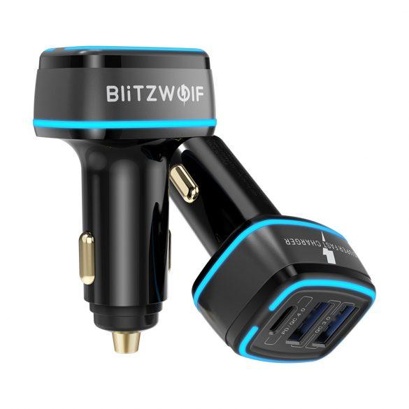 BlitzWolf® BW-SD7 Autoladegerät 30W 30W  2xQC4.0 + 1x PD Schnellladetechnologie, LED-Beleuchtung