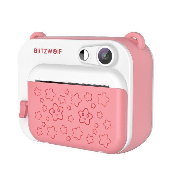Blitzwolf BW-DP1 - Kinderkamera und Sofortdrucker in einem: 1080P, 30fps, Filter usw. - pink