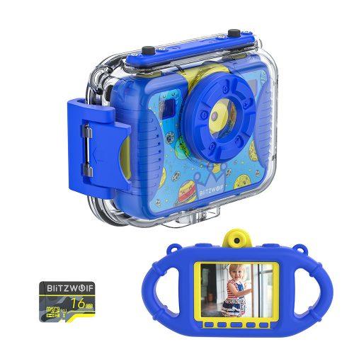 Blitzwolf BW-KC2 - wasserdichte Kinderkamera: 1080P, 30fps - blau