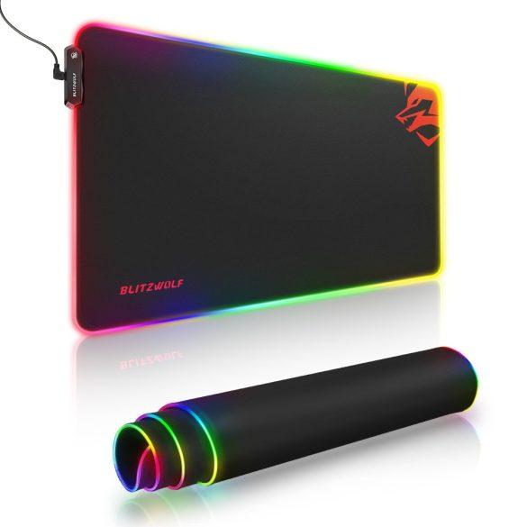 Blitzwolf BW-MP1 - Wasserdichtes, RGB-beleuchtetes, rutschfestes Mauspad mit 10 verschiedenen Lichteffekten, Größe: 800x400x5