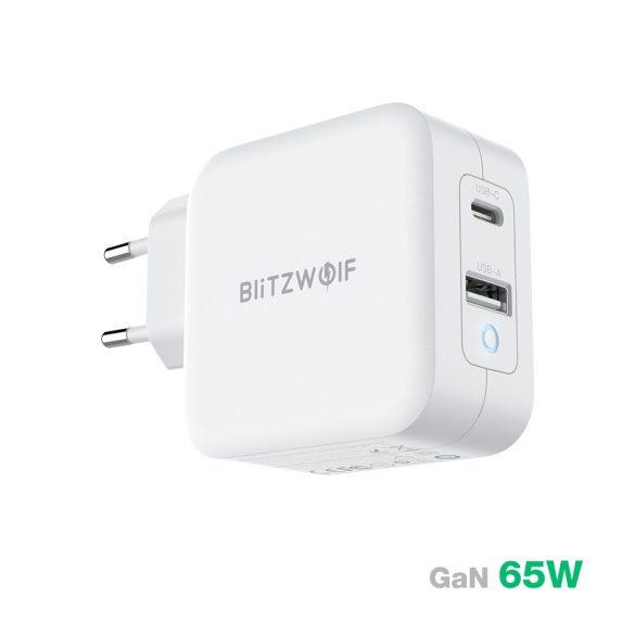 BlitzWolf® BW-S18 - GaN Tech Quick Charge: PD3.0, 65 W, Netzteil (1x USB-C + 1x USB-A)