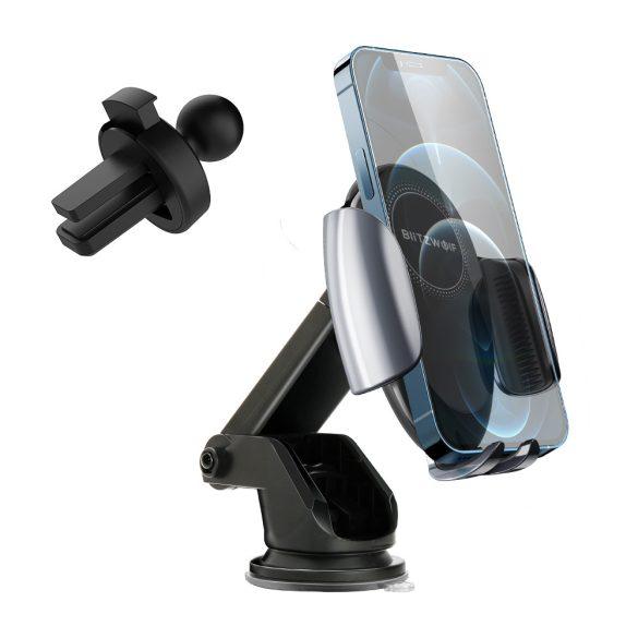 BlitzWolf® BW-CW3 - 15 W kabelloses Schnellladegerät + Autotelefonhalter - für alle Telefone, die kabelloses Laden unterstützen (QI-Standard)