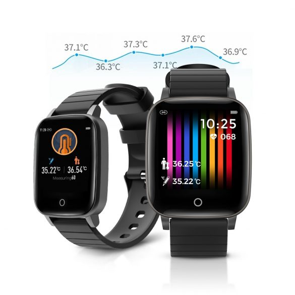 Blitzwolf® BW-HL1T IP68 Smartwatch-Aktivitätsmonitor: Temperatur-, Blutdruck- und Herzfrequenzmonitor - Schwarz