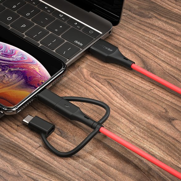 BlitzWolf® BW-MF4 3in1: Type C, Apple Lightning, Micro USB -Kabel