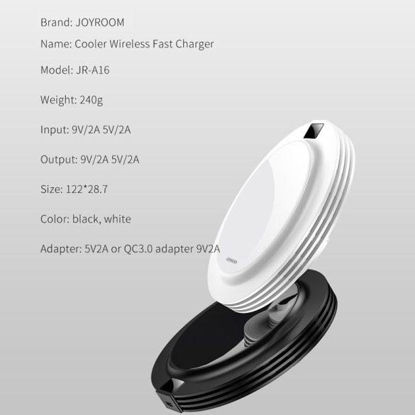 JOYROOM JR-A16 + AC-Schnellladegerät - Glasplatte, Display, 18-W-Funk-Schnellladegerät für alle QI-kompatiblen Telefone - weiß