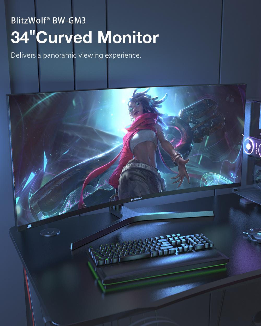 Blitzwolf BW-GM3 - ívelt gamer monitor
