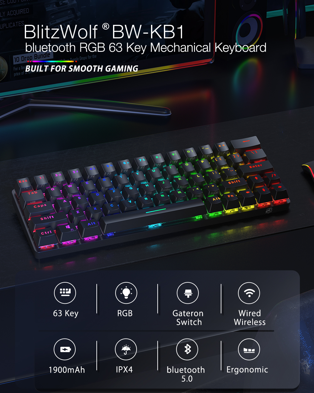 Blitzwolf BW-KB1 Mechanikus gamer billenytűzet